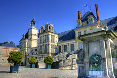 Chateau de Fontainebleau , France. View of the Chateau de Fontainebleau and its famous stairway, situated close to Paris it introduced the Mannerist style of stock image