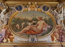Chateau de Fontainebleau, Frankrike, inredetaljer Royaltyfri Foto