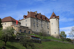Chateau de Gruyeres, Switzerland. Chateau de Gruyeres - medieval castle in famouse swiss town ( the canton of Fribourg , Switzerland).The Castle was built stock image