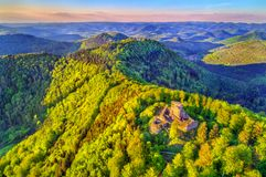Chateau de Hohenbourg, a ruined castle in the Northern Vosges Mountains - Bas-Rhin, France. Chateau de Hohenbourg, a ruined castle in the Northern Vosges stock photography