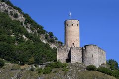Chateau de la Batiaz en Suiza Imagen de archivo libre de regalías