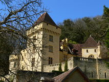 Chateau de La Malartrie, La Roque-Gageac (France ). View of the La Malartrie castle in spring Royalty Free Stock Photo