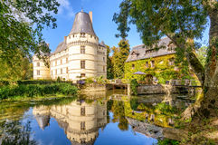 The chateau de lIslette, castle in France. The chateau de lIslette, France. This Renaissance castle is located in the Loire Valley, was built in the 16th century stock photography