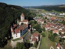Chateau de Lucens, Schweiz royaltyfria bilder