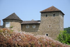 Chateau De Mallin. The Chateau De Mallin is a medieval fort house in the rural village of Mallin in the Rhones-Alpes region of France. It is privately owned and Stock Photography