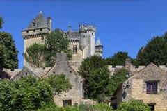 Chateau de Montfort in the Dordogne region of France. Chateau de Montfort - a castle in the French commune of Vitrac in the Dordogne region of France stock photo