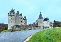 The Chateau de Montpoupon, France. The Chateau de Montpoupon spring view from road, France. Castle already existed in the 12th century, and probably earlier royalty free stock image