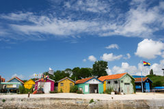 Chateau de Oleron. Village Chateau d'Oléron in France with colorful cabins Stock Image