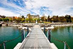 Chateau de Ouchy from Lake Geneva Royalty Free Stock Photos
