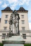 Chateau de Pau and Gaston Febus statue stock photos