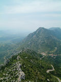 Chateau de Queribus view 2. View over the mountains from Queribus, Languedoc, France stock images