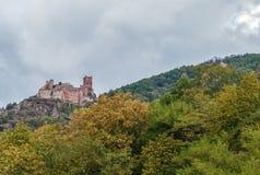 Chateau de Saint-Ulrich, Alsace, France. Chateau de Saint-Ulrich is located on a hill above Ribeauville village, Alsace, France Stock Photos