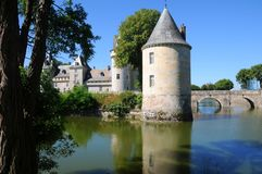 Chateau de Sully in Loire valley, France. Chateau de Sully romantic castle with surrounding moat in the Loire valley stock photos