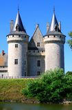 Chateau de Sully in Loire valley, France. Chateau de Sully romantic castle with surrounding moat in the Loire valley stock images