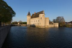 View Over The Lake of Chateau de Sully-sur-Loire, France royalty free stock image