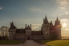 Front Way And Castle at Sunset From Chateau de Sully-sur-Loire, France stock photo