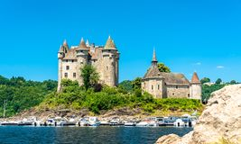 The Chateau de Val, a medieval castle on a bank of the Dordogne in France stock photo