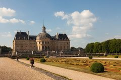 Chateau de Vaux le Vicomte ans its garden Royalty Free Stock Images