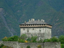 Chateau de Verres,Aosta ( Italia ). Medieval castle of Verrès, Aosta Valley, Italy Stock Photography
