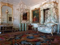 Chateau de Versailles. Bedroom design at Versailles stock photos