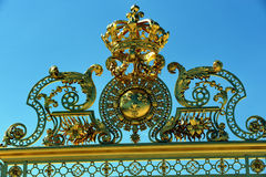 Chateau de Versailles, Front Gate, Golden Emblem o. Paris, France - Architectural Detail, Close up, French Monument, Chateau de Versailles, Front Gate, Golden Stock Image