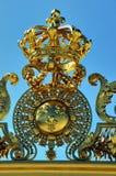 Chateau de Versailles. Golden French King Crown, t. Paris, France - Architectural Detail, Close up, French Monument, Chateau de Versailles. Golden French King Stock Images