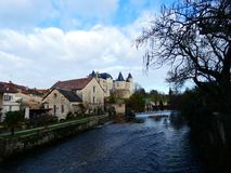 Chateau de Verteuil  in Verteuil-sur-Charente, France. Old casle on the river bank royalty free stock photos