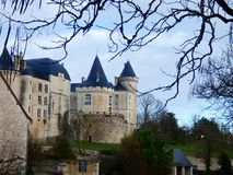 Chateau de Verteuil  in Verteuil-sur-Charente, France. Old casle on the river bank royalty free stock photo