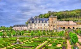 Chateau de Villandry with its garden - the Loire Valley, France. Chateau de Villandry, a castle in the Loire Valley of France stock images