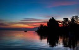 Chateau de Yvoire Silhouette Stock Images