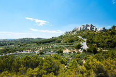 Chateau Des Baux Surrounding Fields Provence Royalty Free Stock Image