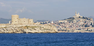 Chateau dIf and Marseille in France Stock Photos