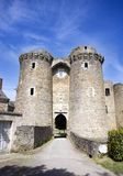 Chateau entrance. Twin tower entrance to Chateaubriant Chateau stock photo