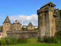 Chateau, Fougeres (Frankrijk) Stock Afbeeldingen