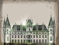 Chateau, Frankrijk De hand getrokken vector van de potloodschets Royalty-vrije Stock Foto's