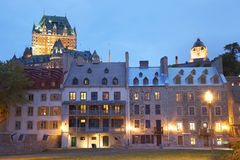 Chateau Frontenac at dusk  in autumn, Canada Stock Photos