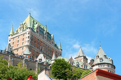 Chateau Frontenac Hotel in Quebec City, Canada. Chateau Frontenac Hotel in Quebec City against a blue summer sky. The first version of this castle like hotel was royalty free stock images