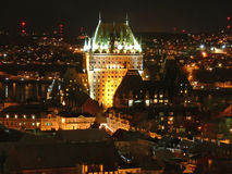 Chateau Frontenac nachts Stockfoto