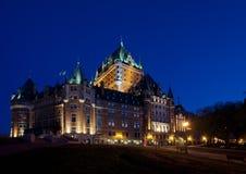 Chateau Frontenac nella vista laterale di Quebec City Fotografie Stock Libere da Diritti