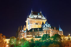 Chateau Frontenac. At night Quebec City royalty free stock photo