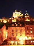 Chateau Frontenac på natten Arkivfoto