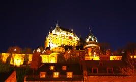 Chateau Frontenac på natten Fotografering för Bildbyråer