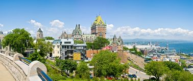 Chateau Frontenac, Quebec City. Chateau Frontenac and the St-Lawrence River, Quebec City stock photography