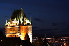 Chateau Frontenac, Quebec City. Night scene of the national landmark, Chateau Frontenac in Quebec City, Canada stock photo
