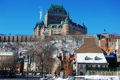 Chateau Frontenac in Quebec City, Canada. Chateau Frontenac of Quebec City in winter, viewed from Boulevard Champlain near Chevalier House, Quebec City, Quebec royalty free stock images