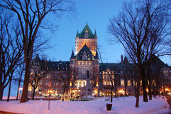 Chateau Frontenac, Quebec City, Canada. Chateau Frontenac, built in 1893 with Chateauesque style, is located at the center of Old Quebec City, Quebec, Canada royalty free stock image