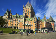 Chateau Frontenac in Quebec city.  Frontenac Castle. Stock Image