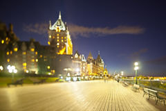 Chateau Frontenac in Quebec City At Night, Canada. Chateau Frontenac in Quebec City, Canada at  night, focus plane tilted along the promenade Royalty Free Stock Photo