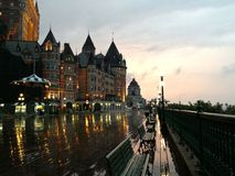 Le Chateau Frontenac in Quebec City. Le Chateau Frontenac in the Quebec City in the rain at sunset Stock Photography