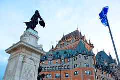 Chateau Frontenac. With statue at dusk in Quebec City stock image